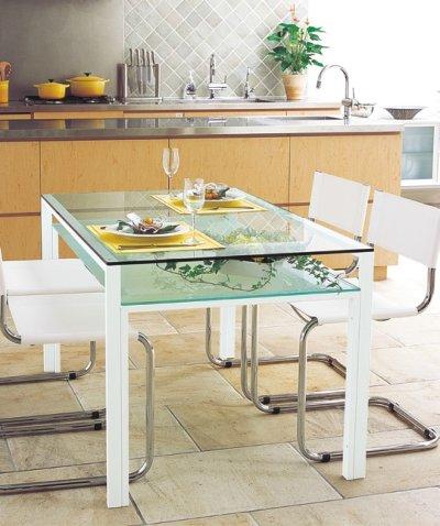 画像1: 【アルテジャパン】ダイニングテーブル 天板:透明ガラス・棚板:フロストガラス【送料無料】