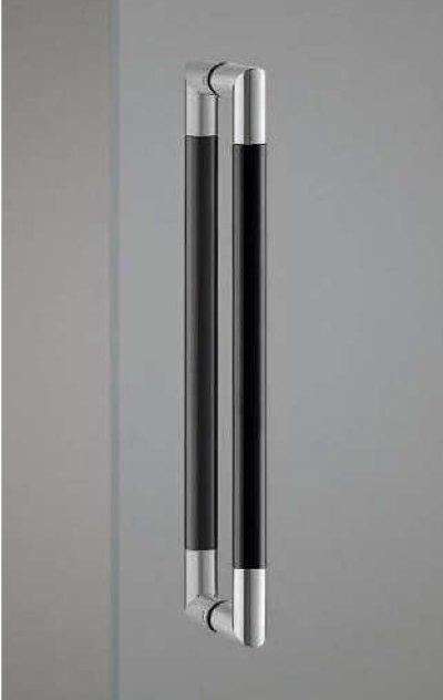 画像1: ユニウッド ブラック+ステンレス ヘアラインハンドル(両側タイプ)/全長:452mm