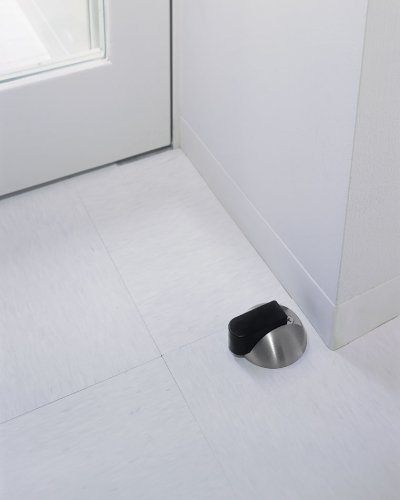 画像1: ブラス ミラー+ゴム ブラック戸当り(1ヶ)/全長:φ75×33mm