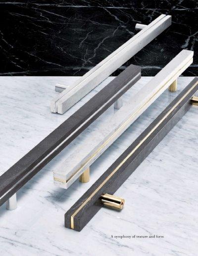 画像2: レジンストーン ホワイトマーブル +ブラス クロムハンドル(両側タイプ)/全長:600mm