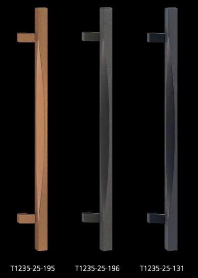 画像1: アルミ ストーンブラストスレイトグレーハンドル(両側タイプ)/全長:600mm