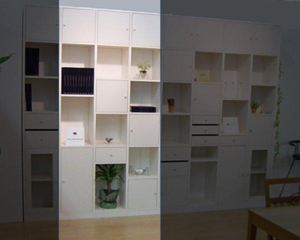 画像1: システム壁面収納家具【ホワイト】 大きさ組合せ自由ユニット家具 FIX Puzzle(パズル) WT バージョンNO.1 (1)
