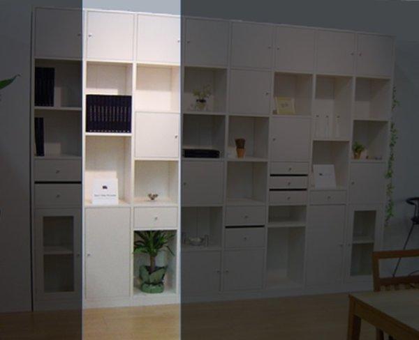 画像1: システム壁面収納家具【ホワイト】 大きさ組合せ自由ユニット家具 FIX Puzzle(パズル) WT バージョンNO.2 (1)