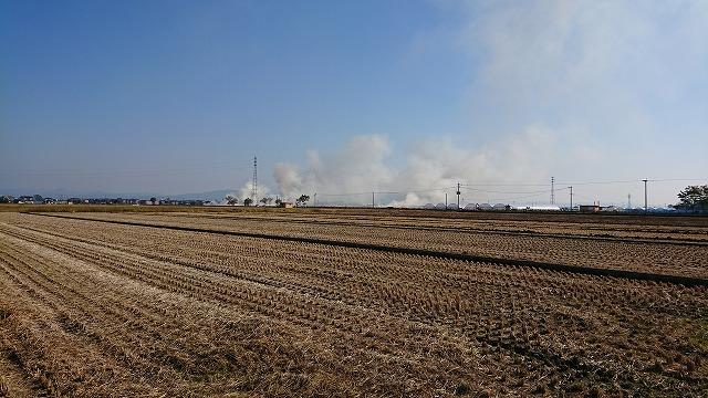 煙,煤煙,稲刈り後,煙公害