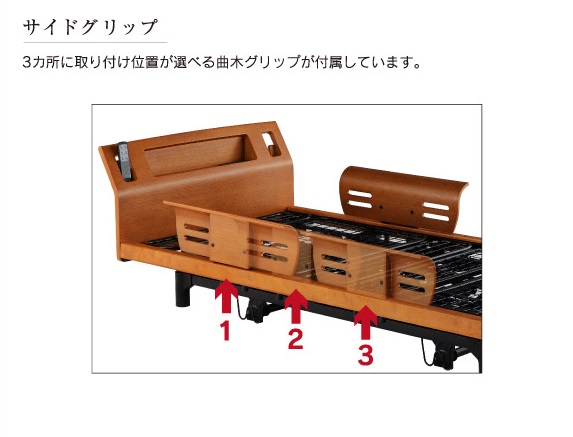サイドグリップ,3箇所に取り付け位置が選べる曲げ木グリップが付属しています,各左右