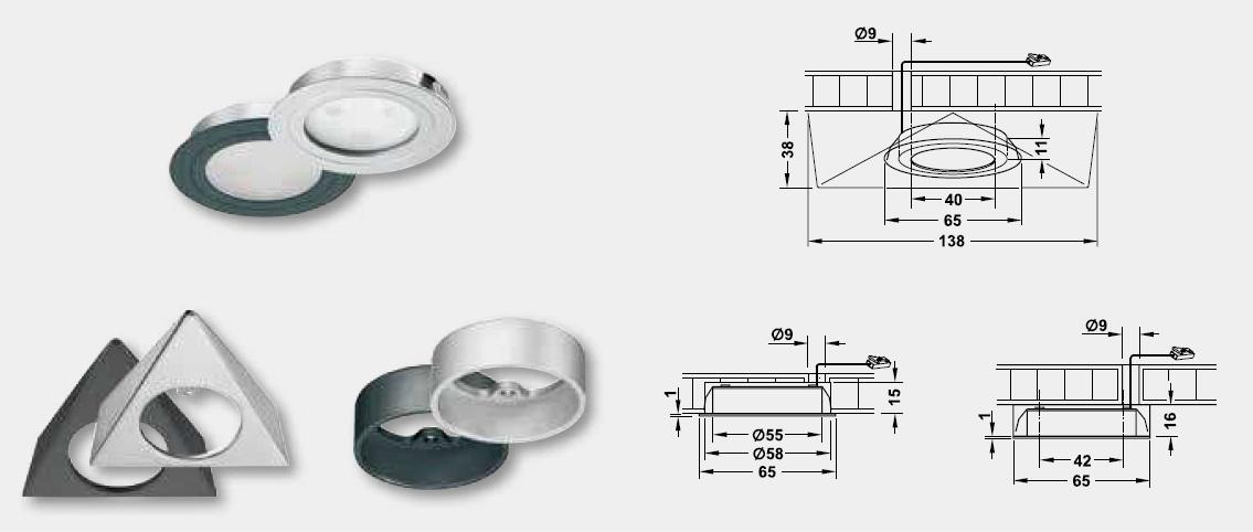 埋め込み/面付けLEDダウンライト,LEDダウンライト,LED照明,詳細図