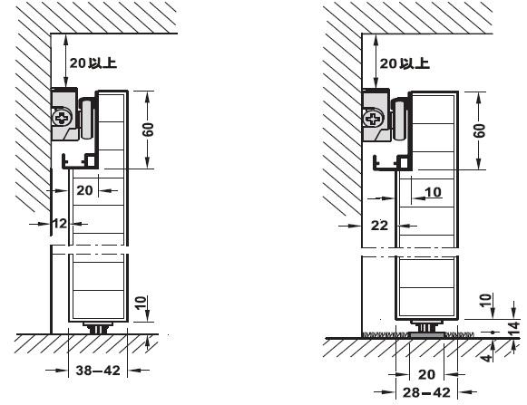 固い床材の場合の下部ガイド,引戸建具,スライド,スライド金具,取付け