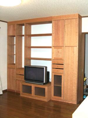ブラックチェリー材,壁面収納家具,システム壁面収納家具,オーダー壁面収納家具,リビング壁面収納家具,リビングボード,サイドボード,フリーボード壁面収納家具,書棚