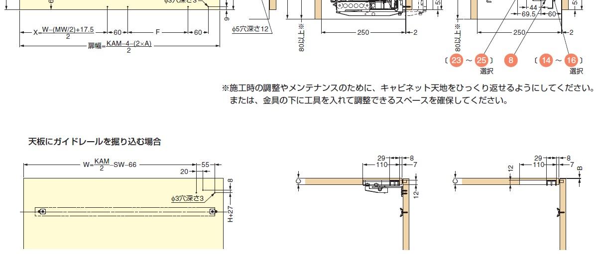 フロンティーノ 20-FS シングルドアタイプ,天板にガイドレールを掘り込む場合