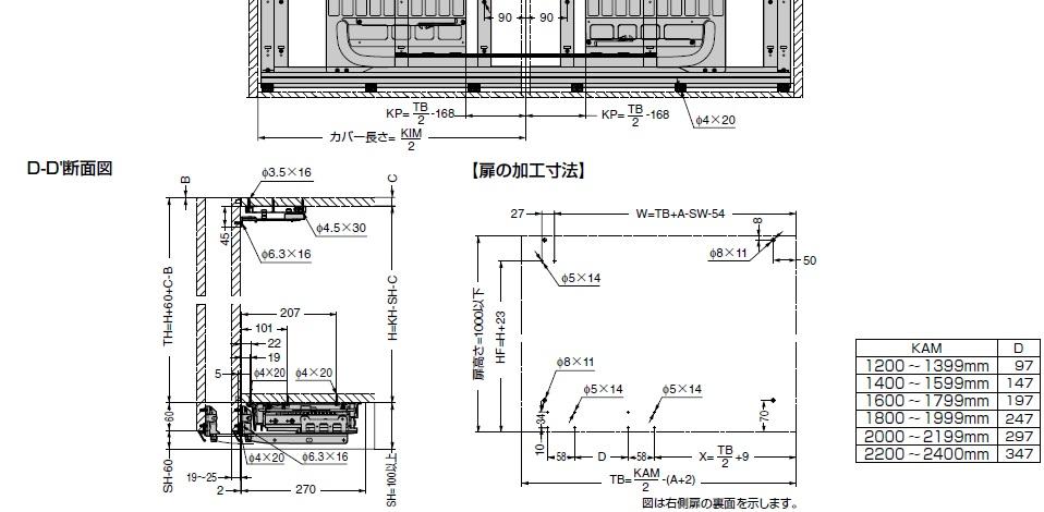 フロンティーノ 20H-FS 床置きタイプ 納まり寸法例,扉の加工寸法