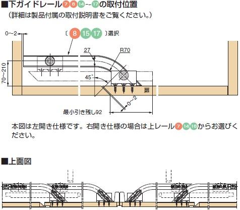 地板の加工,下ガイドレールの取付け位置