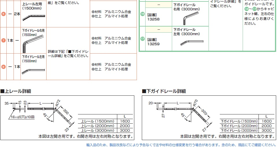 上レール詳細,下ガイドレール,下ガイドレール詳細,アルミニウム合金