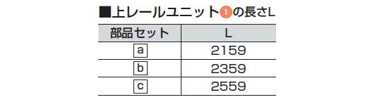 上レールユニット1 の長さL