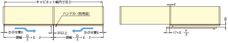 小型フラット扉システム BSスライダーSタイプ,床置きタイプキャビネット幅内寸法