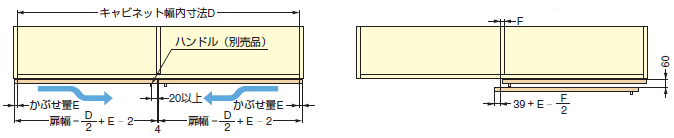 小型フラット扉システム BSスライダーSタイプ,吊戸棚タイプ キャビネット幅内寸法