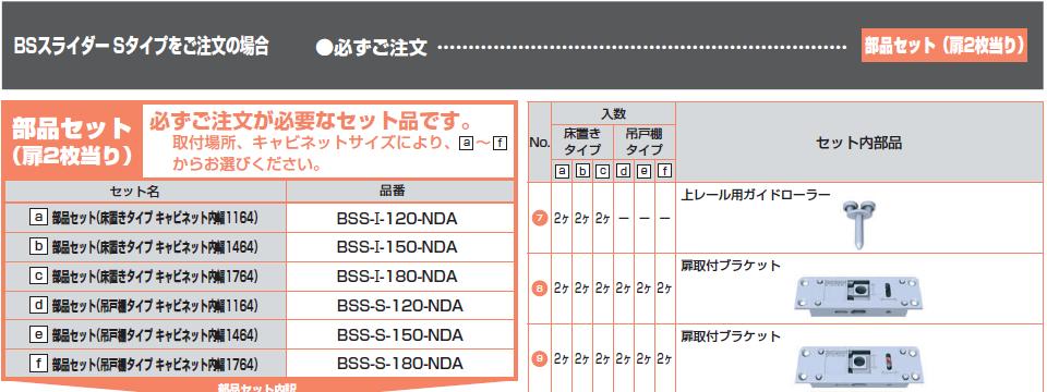 小型フラット扉システム BSスライダーSタイプ,部品セット注文の場合必ず注文