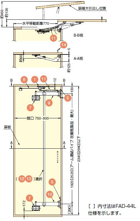 扉の開き方,扉の開き詳細図