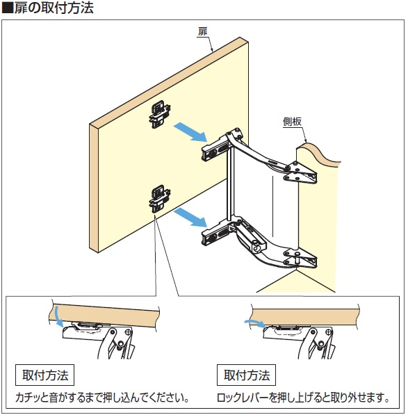 扉の取付方法図