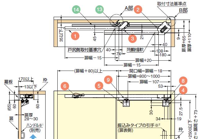 下レール掘込仕様の扉の納まり寸法および加工寸法例