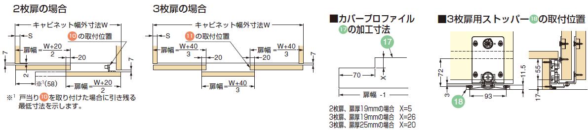 2枚扉の場合,3枚扉の場合,3枚扉用ストッパー18取付位置,カバープロファイル17の加工寸法