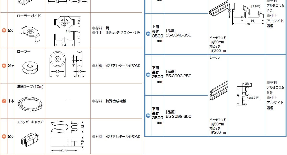 部品セット(扉2枚当り),ローラー,ガイド,レール