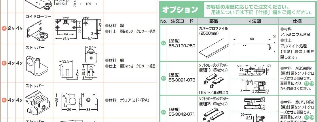 材料アルミニウム合金,ストッパー,カバープロファイル,扉をソフトクローズさせる部品です。扉質量により、18 19からお選びください