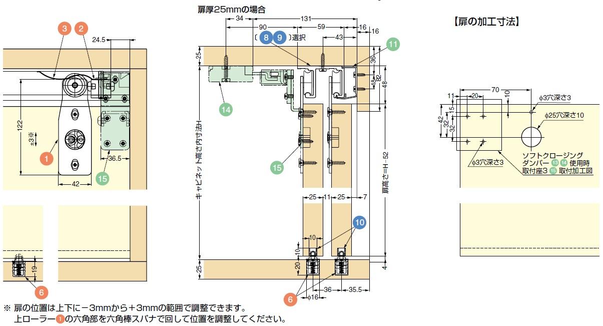 扉の加工寸法