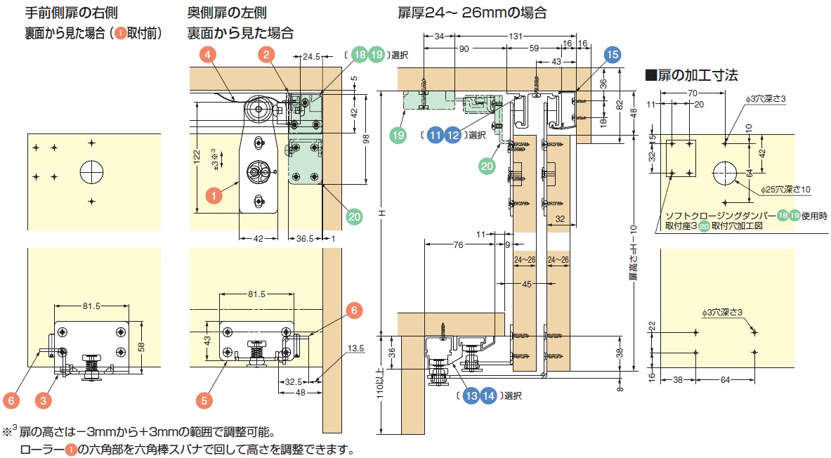 扉の加工寸法,奥側扉の左側裏面から見た場合
