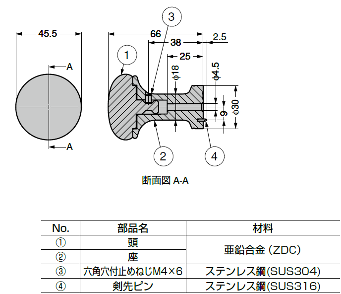 詳細図,断面図,コートフック,レザリーシックシリーズ,PXB-LE05-111型