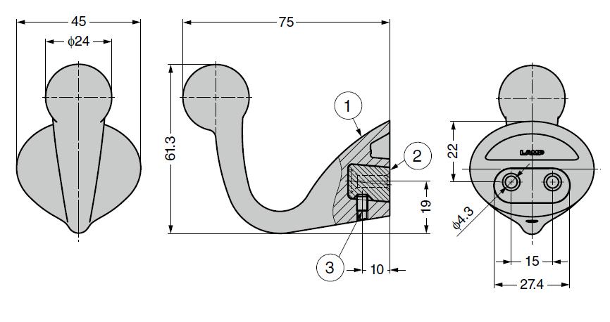 詳細図,コートフック,玉付フック,477-90-070型