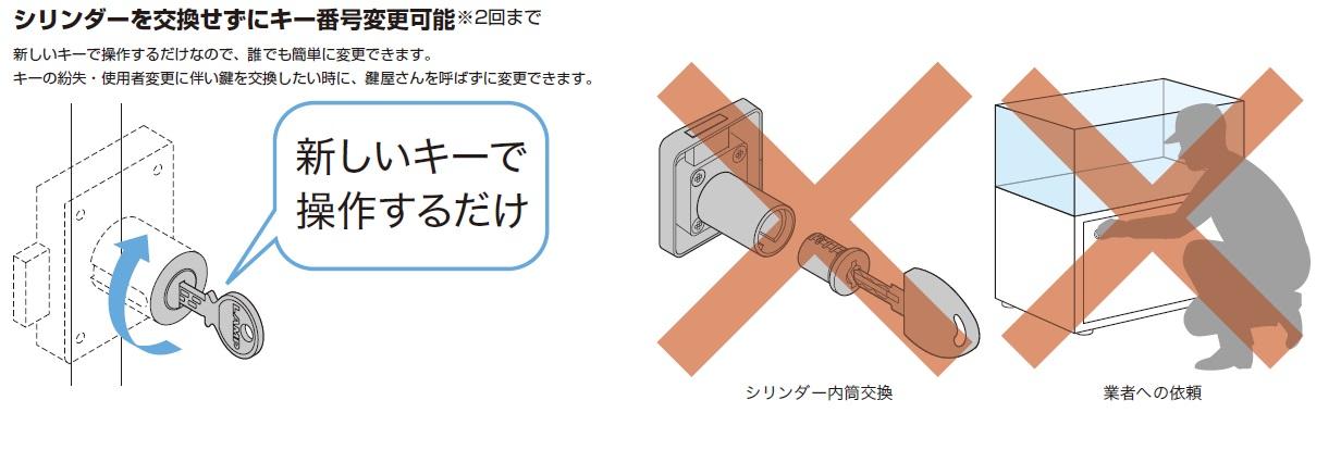 シリンダーを交換せずにキー番号変更可能