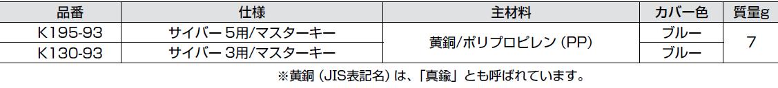 品番,主材料,仕様,かぎ,K195-93,サイバー5用/マスターキー