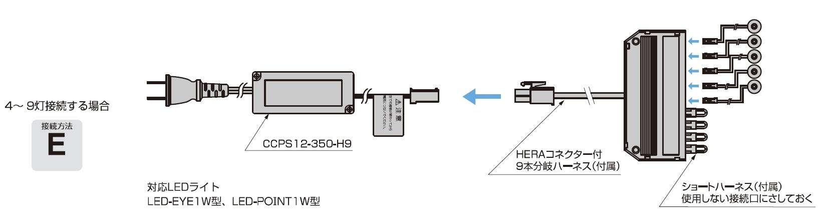 LED用直流電源装置,4〜 9灯接続する場合