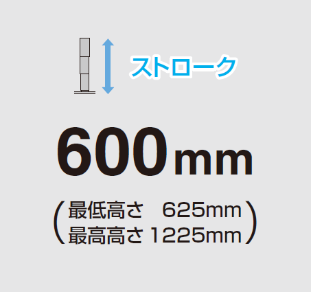 ストローク,600mm