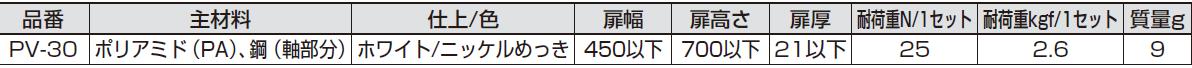 PV-30,主材料,耐荷重,扉サイズ