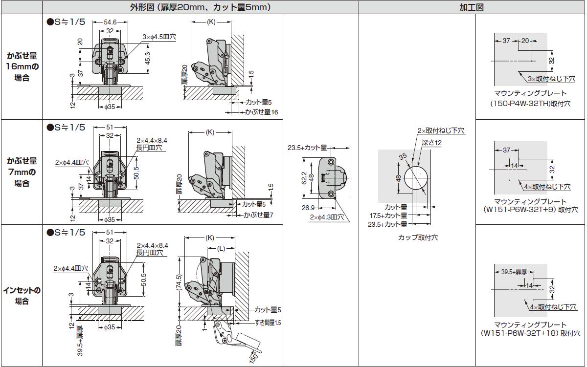 ワンタッチスライド丁番説明図,丁番外形図,加工図