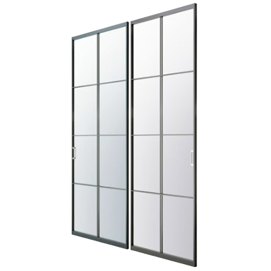 アルミ枠ガラス引戸『住楽(じゅら)』JURA-BK-CRGRガラス+両面鉄9mm角十字格子