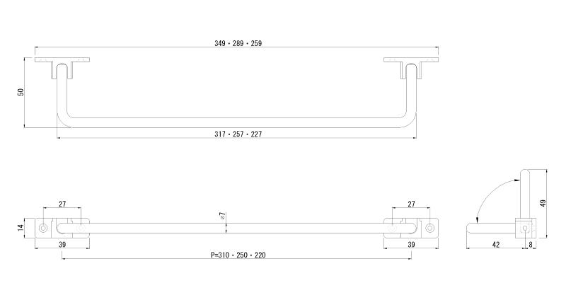クローム 折畳みバー(回転フック),フック…タオル掛け,スリッパラック代わり,クローム処理