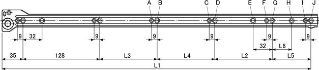 底付け用引き出しレール,38ローラーレール,ローラー式の底付け用引き出しレール,キャッチ機構