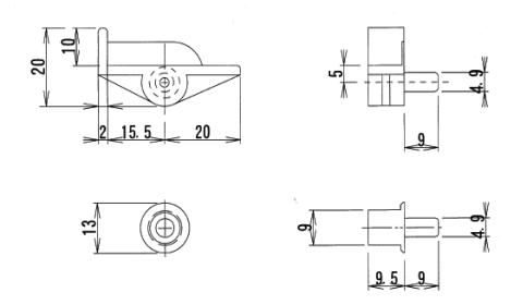 丸型差込みダボ φ4.9,差込みL型ダボ φ4.9,棚受け差込みダボ,ブラウンクリアータイプ差込みダボ
